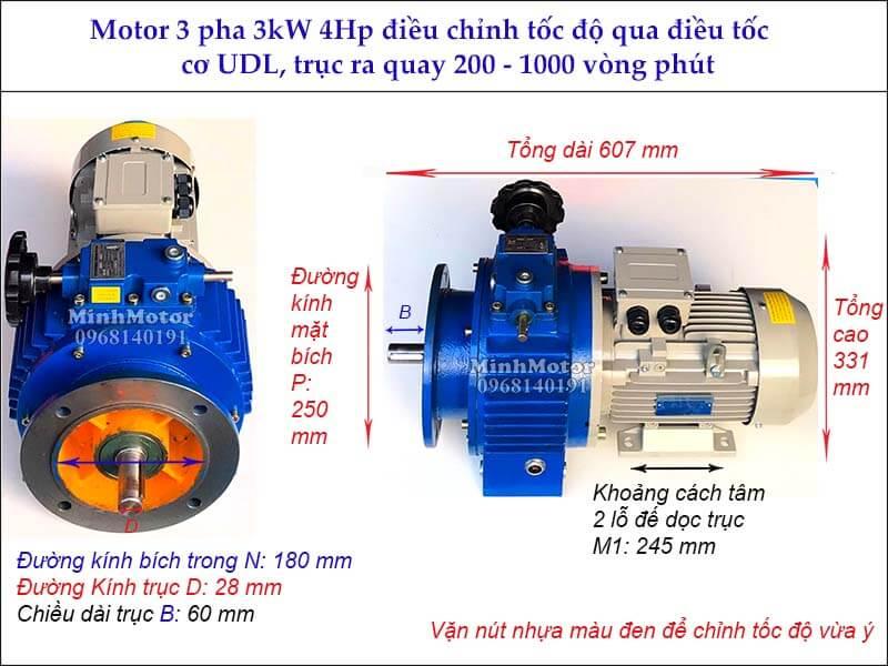 Motor 3 pha 3kw 4hp liền hộp số điều tốc cơ