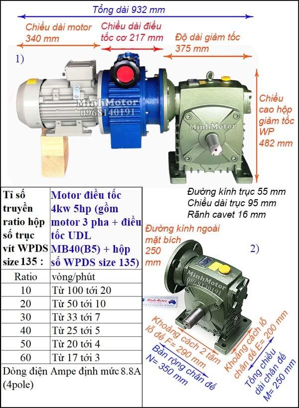 Bộ điều chỉnh tốc độ motor điện 4kw 5hp hộp giảm tốc trục vít WPDS size 135