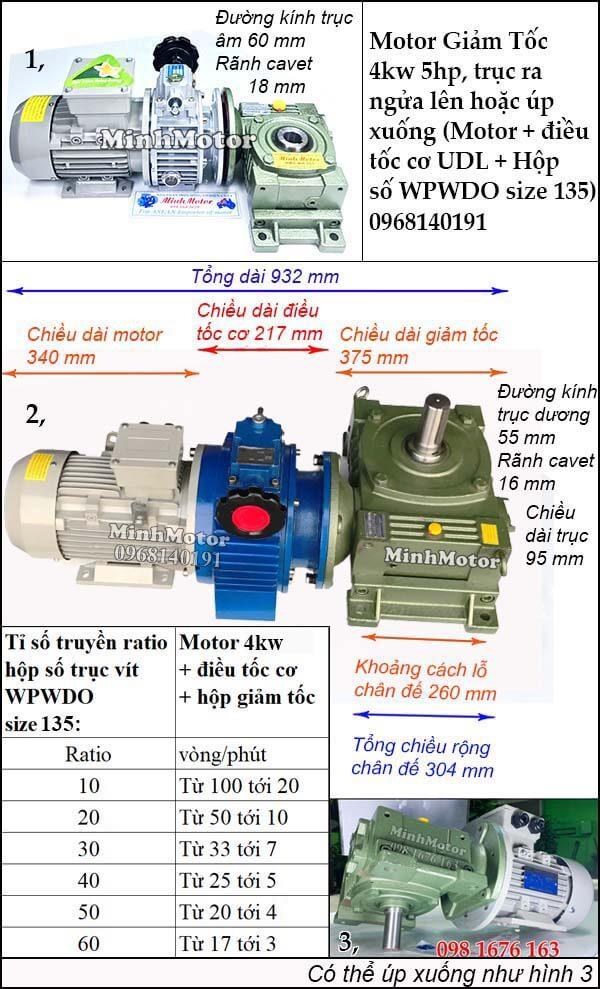 Bộ điều chỉnh tốc độ motor 3 pha 4kw 5hp trục ngửa, úp WPWDO size 135