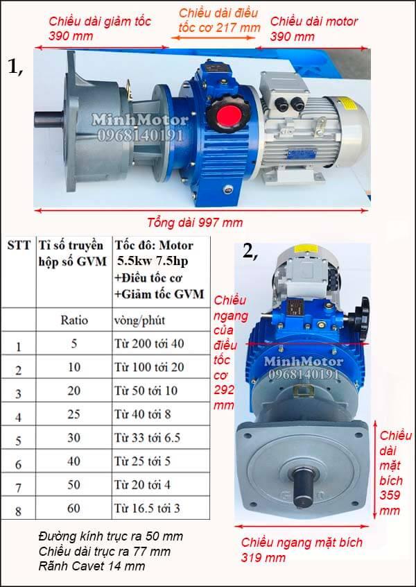 Bộ điều chỉnh tốc độ motor giảm tốc mặt bích, hộp số GVM trục 50