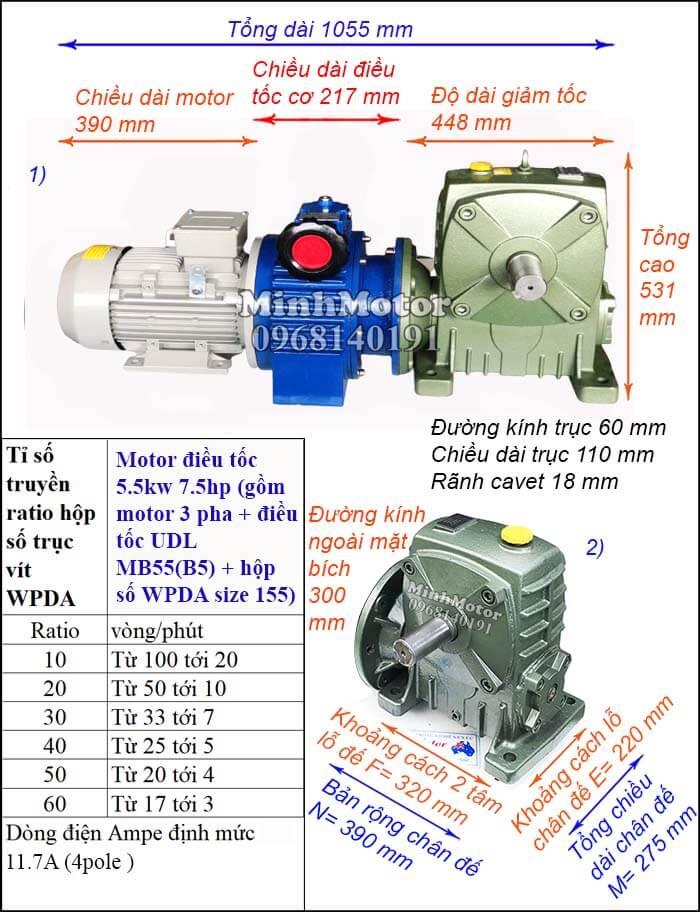 Bộ điều chỉnh tốc độ động cơ điện 5.5kw 7.5hp hộp số WPDA size 155 trục ngang