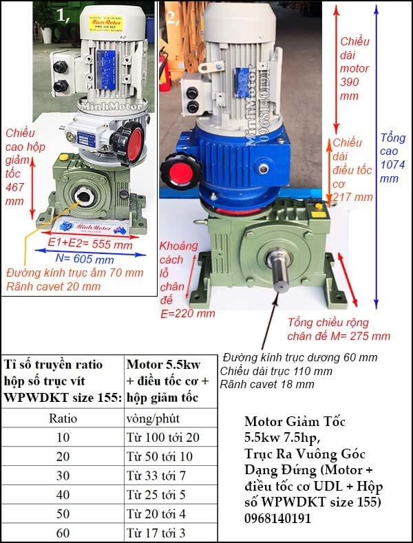 Bộ điều chỉnh tốc độ động cơ 3 pha 5.5kw 7.5hp hộp giảm tốc đứng WPWDKT size 155
