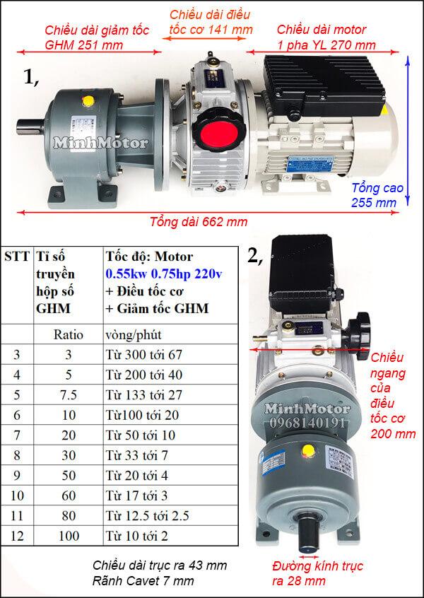Motor điều tốc 1 pha 220V 0.55kw 0.75hp trục thẳng, chân đế GHM