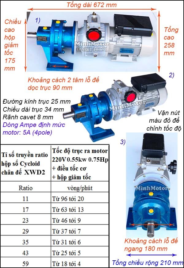 Bộ điều khiển tốc độ motor khuấy 220V 550w 1hp, cyclo chân đế XWD2