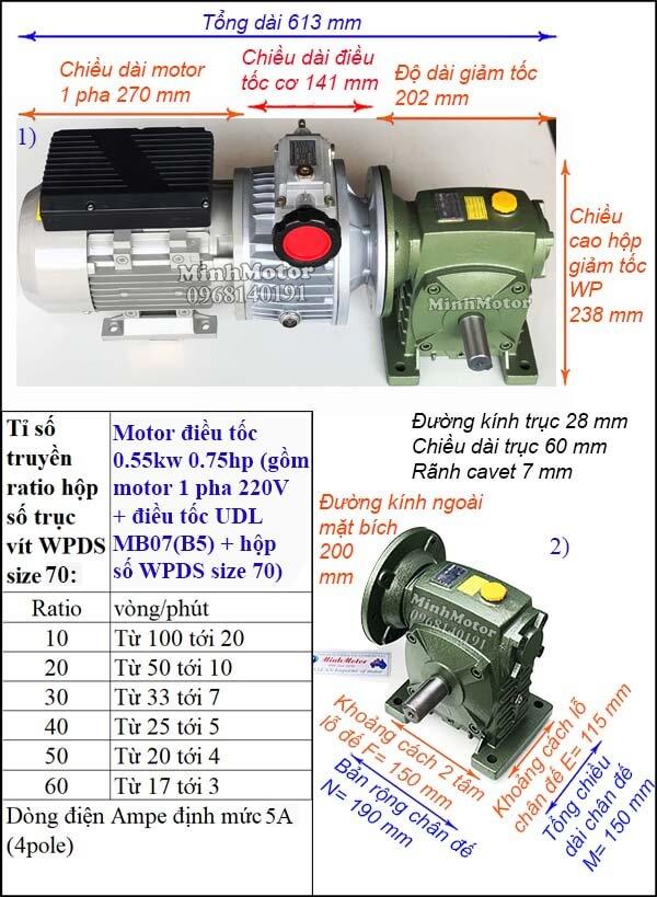 Bộ biến đổi tốc độ motor 1 pha 0.55kw 0.75hp WPDS size 70