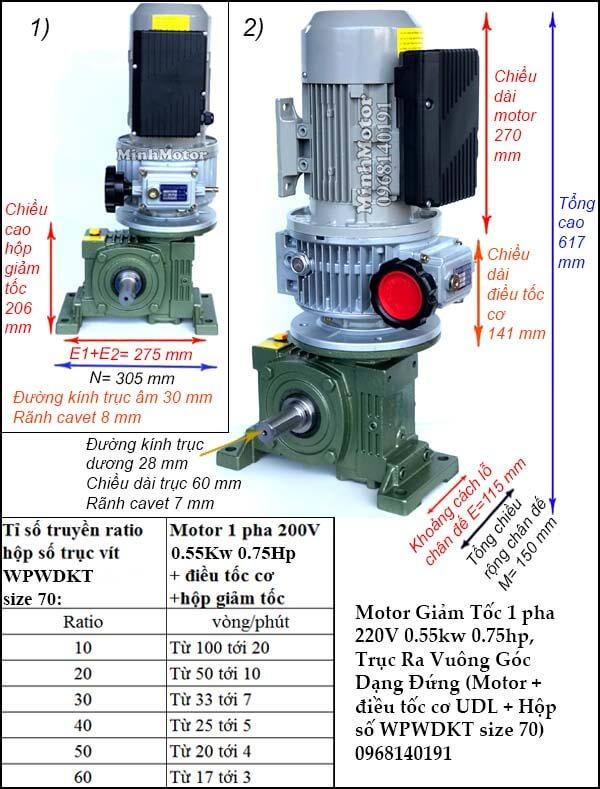 Bộ điều chỉnh động cơ điều tốc 1 pha 0.55kw 0.75hp, WPWDKT size 70