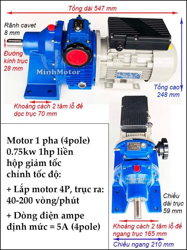 Bộ điều tốc 2 cấp motor 220V 1 pha 0.75kw 1hp