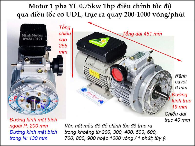 Bộ điều chỉnh tốc độ motor 220v 750w 1 pha YL UDL trục 19