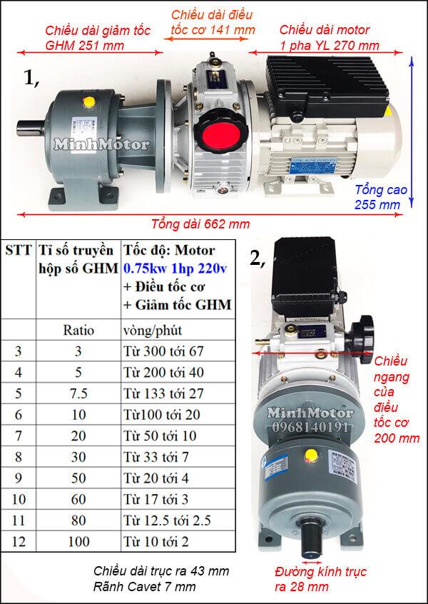 Motor điều tốc 1 pha 220V 0.75kw 1hp trục thẳng, chân đế GHM