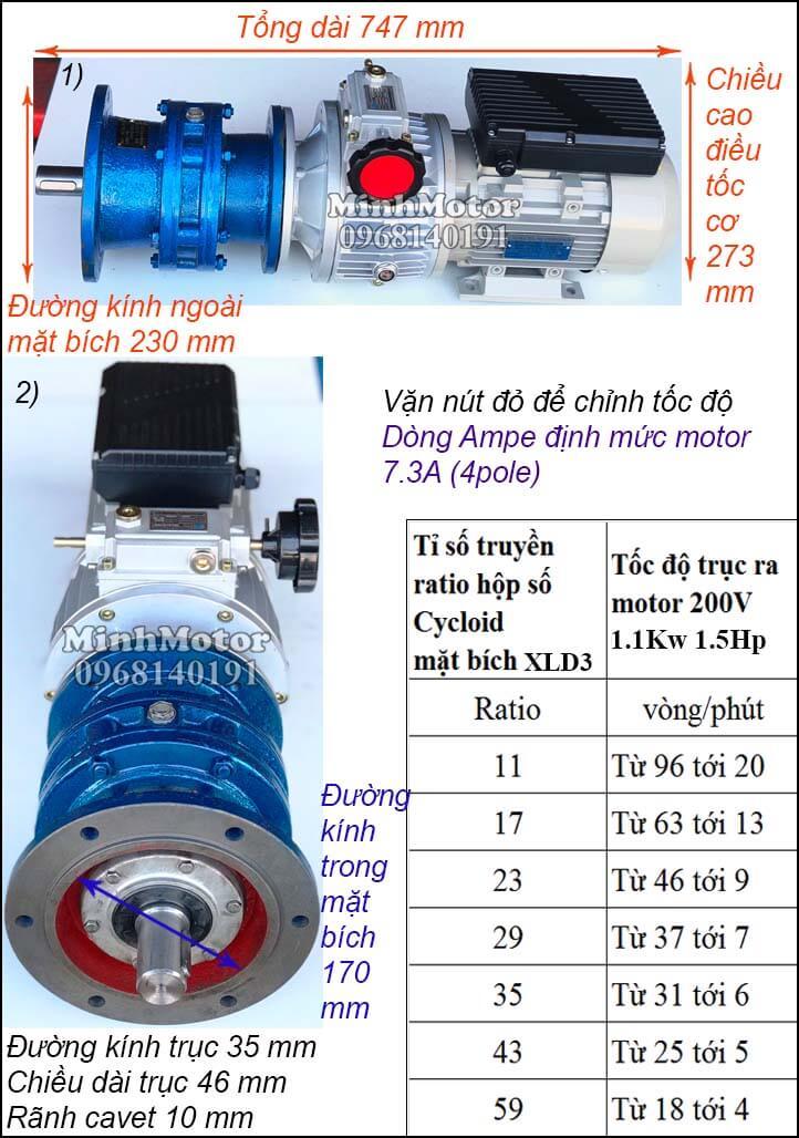Bộ điều khiển tốc độ động cơ khuấy 220V 1100w 1.5hp, cyclo mặt bích XLD3