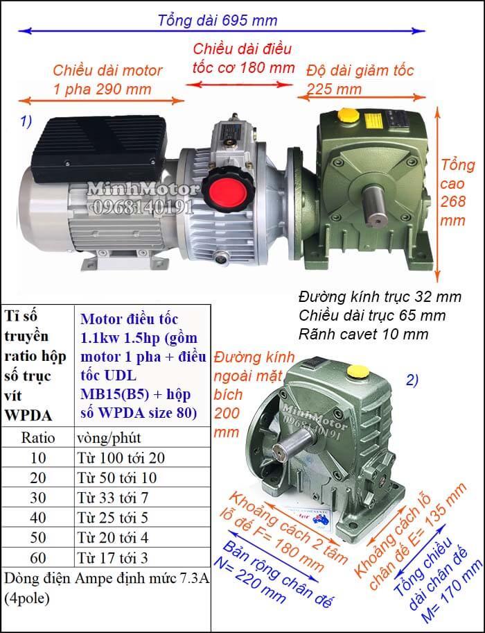 Bộ thay đổi tốc độ động cơ 1pha 220V 1100w 1.5hp, WPDA size 80