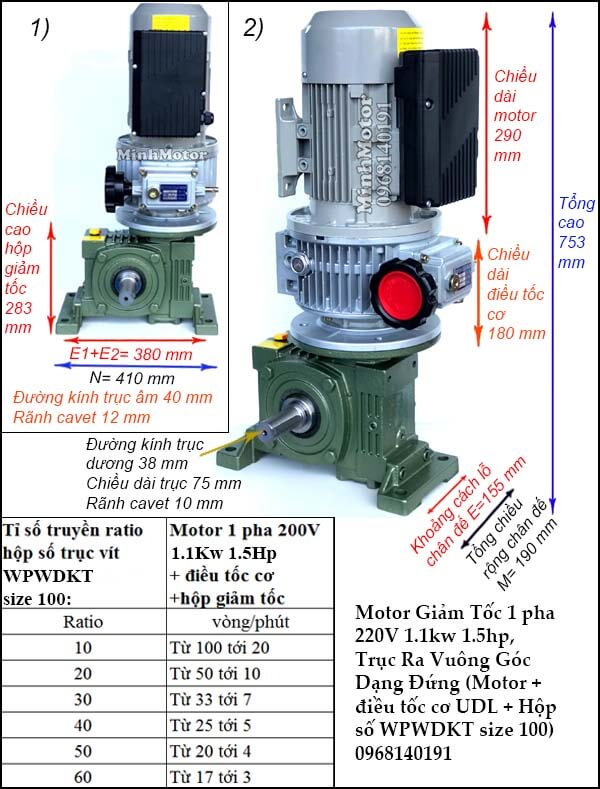 Bộ điều chỉnh động cơ điều tốc 1 pha 1.1kw 1.5hp, WPWDKT size 100