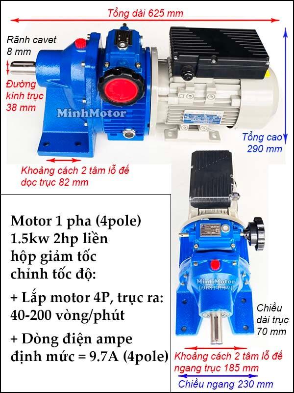Bộ điều tốc 2 cấp motor 220V 1 pha 1.5kw 2hp