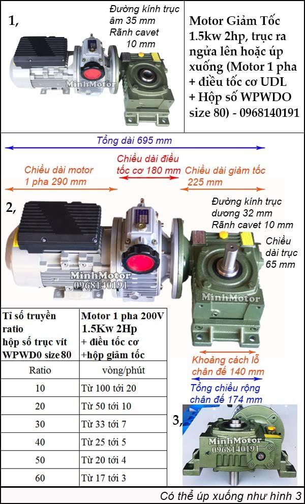 Motor 1 pha 1.5kw 2hp chỉnh tốc độ, trục ngửa, úp WPWDO size 80