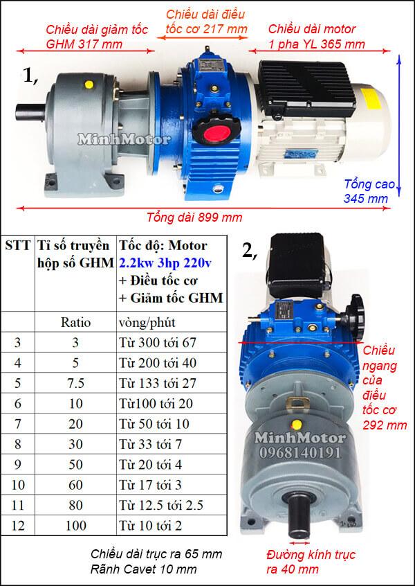 Motor điều tốc 1 pha 220V 2.2kw 3hp trục thẳng, chân đế GHM