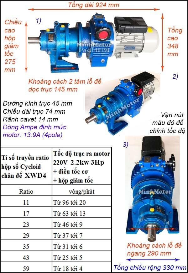 Bộ điều khiển tốc độ motor khuấy 220V 2200w 3hp, cyclo chân đế XWD4