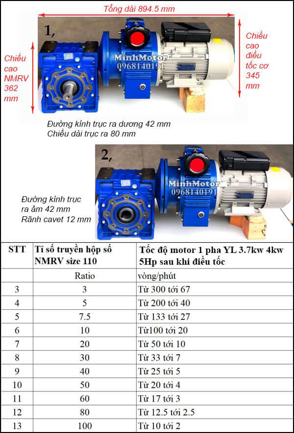 Motor điều tốc 220V 3.7Kw 4Kw 5Hp NMRV trục vuông góc size 110