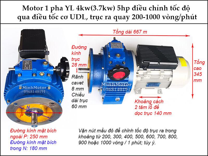 Bộ điều tốc motor 220V 3.7Kw 4Kw 5Hp 1 pha YL UDL