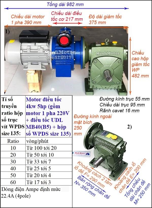Điều chỉnh tốc độ motor 220V 3.7Kw 4Kw 5Hp WPDS size 135