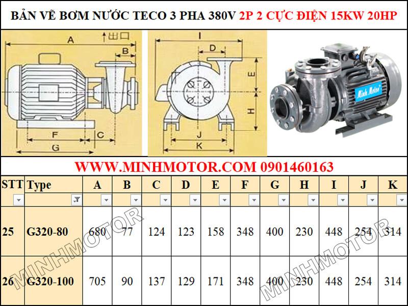 Bản vẽ máy bơm nước Teco 15kw 20Hp, 2P