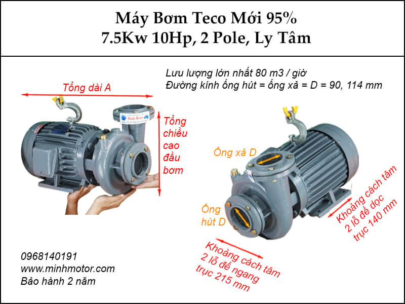 Bơm nước Teco 7.5kw 10Hp second hand