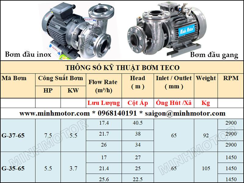 Bơm Teco G-37-65 5.5kw 7.5HP 2 pole lưu lượng từ 17.4 tới 26 mét khối
