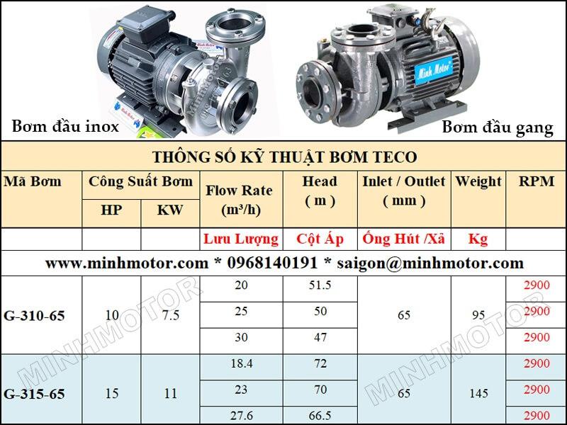 Bơm Teco G-310-65 7.5kw 10HP 2 pole lưu lượng từ 20 tới 30 mét khối