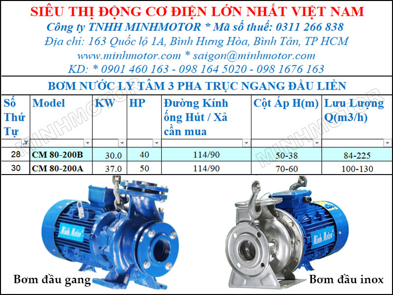 Máy bơm nước CM 80-200B 30kw 40HP lưu lượng 84 tới 225 mét khối