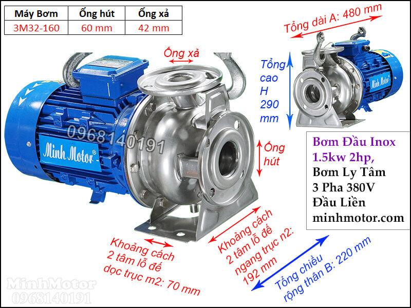Máy bơm nước 2hp 3 Pha kiểu 3M đầu Inox