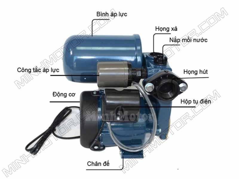 Cấu tạo sản phẩm Máy bơm nước tăng áp tự động 0.55kw 0.75 pha 0.75 ngựa 220v