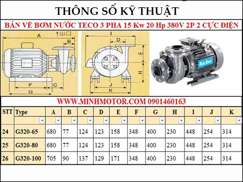 Bản vẽ kỹ thuật máy bơm Teco 15kw 20Hp 20 ngựa