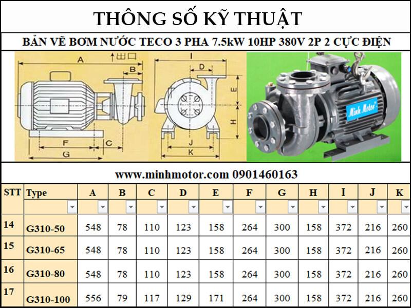 bản vẽ kỹ thuật máy bơm nước Teco 10Hp 7.5Kw 10 ngựa