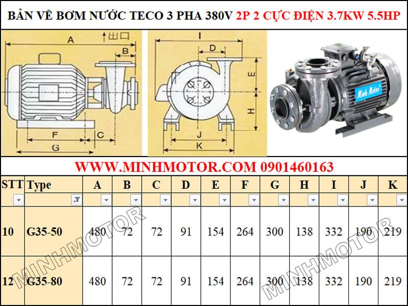 Bản vẽ kỹ thuật máy bơm Teco 4kw 5.5hp 5.5 ngựa