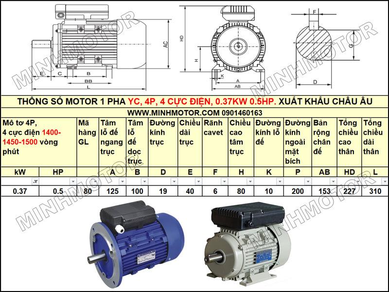 Thông số kỹ thuật, bản vẽ Mô Tơ 1 Pha YC 0.37kw 0.5HP 0.5 ngựa tải nặng