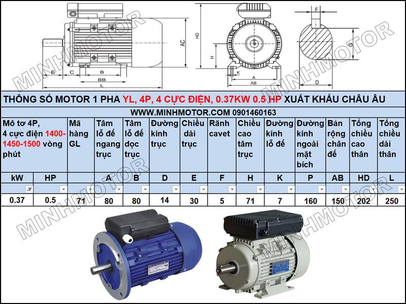 Thông số kỹ thuật, bản vẽ Động Cơ 1 Pha 0.37kw 0.5HP 0.5 ngựa YL tải trung bình – tải nhẹ