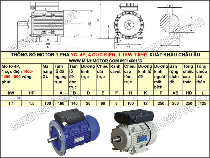 Thông số kỹ thuật, bản vẽ Mô Tơ 1 Pha YC 1.1kw 1.5HP 1.5 ngựa tải nặng
