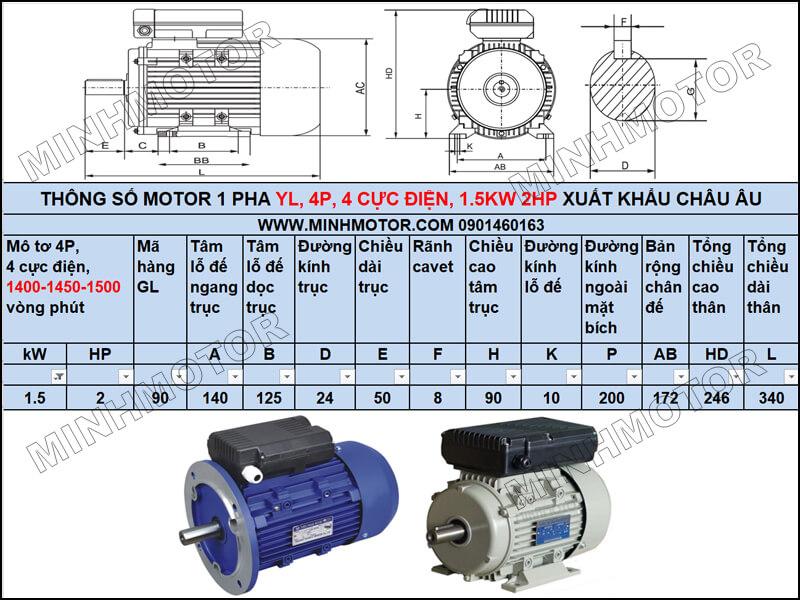 Thông số kỹ thuật, bản vẽ Động Cơ Điện 1 Pha 1.5Kw 2HP 2 ngựa 4 Cực