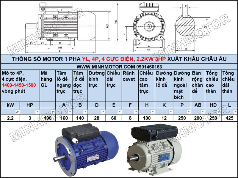 Thông số kỹ thuật, bản vẽ Động Cơ 1 Pha 2.2kw 3HP 3 ngựa YL tải trung bình – tải nhẹ
