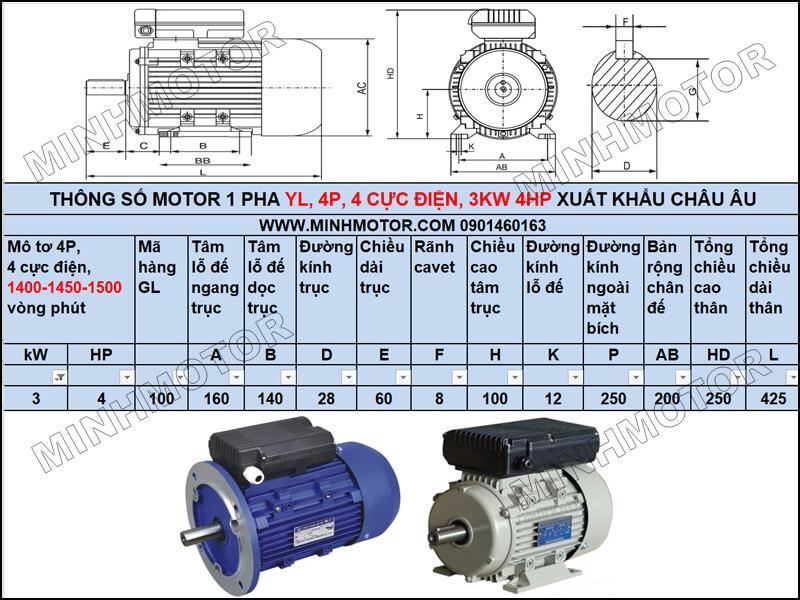 Thông số kỹ thuật, bản vẽ Động Cơ 1 Pha 3kw 4HP 4 ngựa YL tải trung bình – tải nhẹ