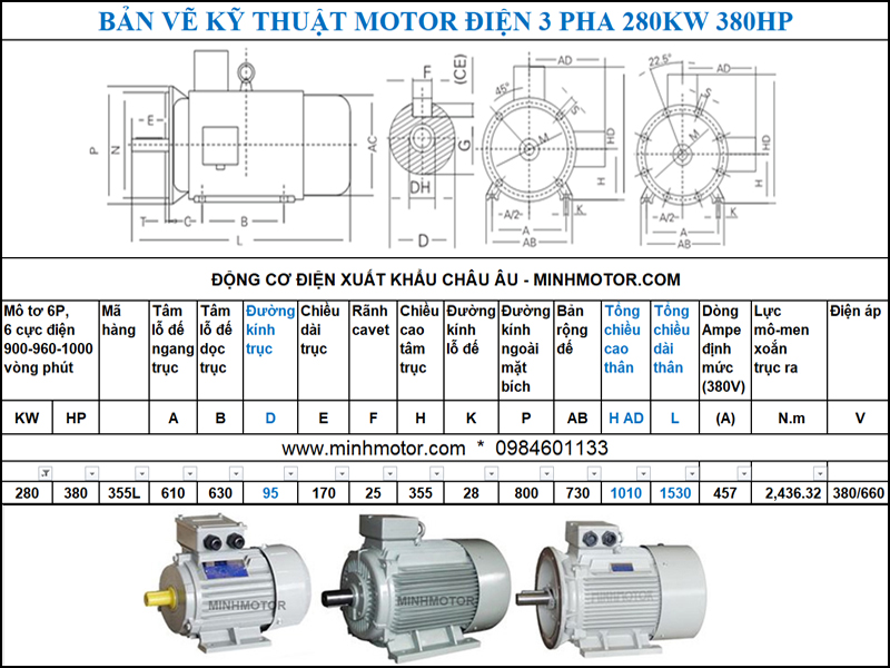 Động Cơ Điện 3 Pha 380HP 280Kw 6P