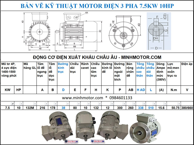 Thông số kỹ thuật, kích thước bản vẽ Động Cơ Điện 3 Pha 10Hp 7.5Kw 4 Cực Điện