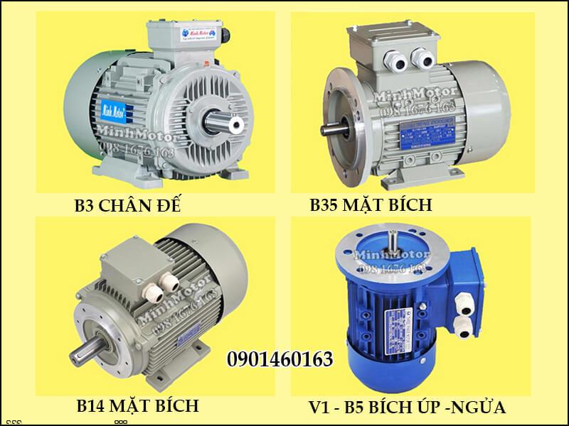 Động Cơ Điện 3 Pha 0.5Hp 0.37Kw 2 Cực Điện B3 chân đế, B14 mặt bích, V1-B5 bích úp - ngửa