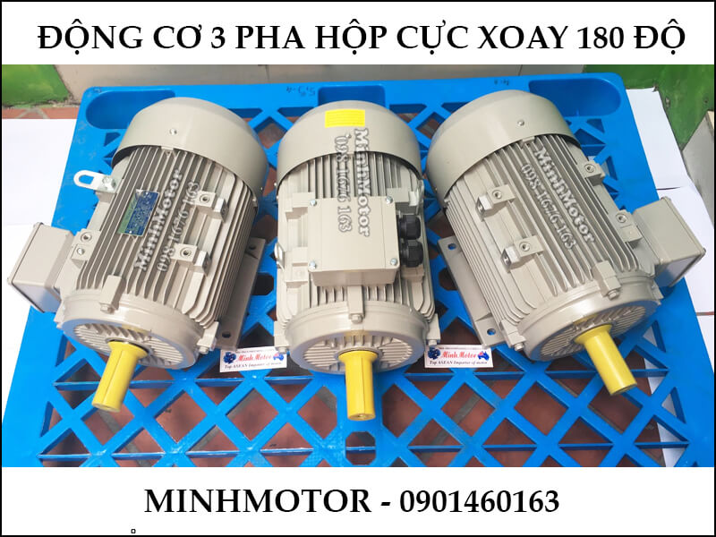 Động Cơ Điện 3 Pha 0.75Hp 0.55Kw 4 Cực Điện hộp cực xoay 180 độ