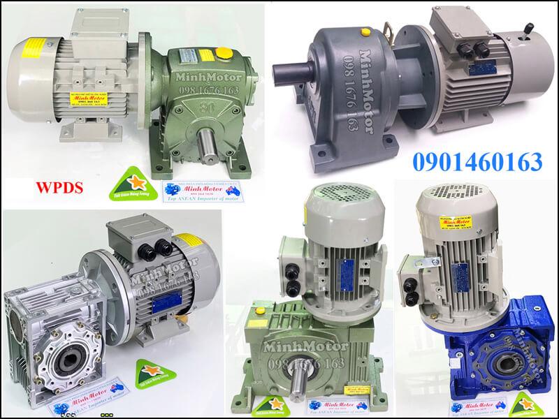 Động cơ điện 0.75HP 0.55kW liền hộp số giảm tốc