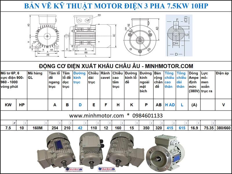 Thông số kỹ thuật, kích thước bản vẽ Động Cơ Điện 3 Pha 10Hp 7.5Kw 6 Cực Điện