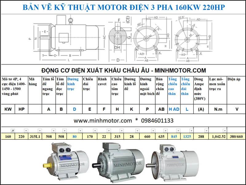 Chi tiết bản vẽ hình học động cơ điện 220HP 160kw 4 cực