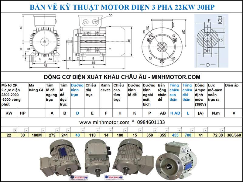 Chi tiết kĩ thuật bản vẽ motor 30HP 22kw 2 Pole
