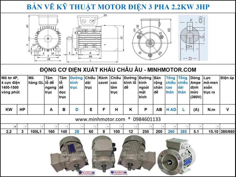 Chi tiết bản vẽ motor 3HP 2.2kw 4 Pole