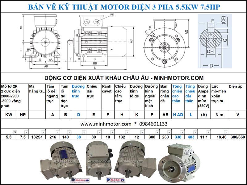 Thông số kĩ thuật bản vẽ động cơ điện 7.5HP 5.5kw 2 Pole