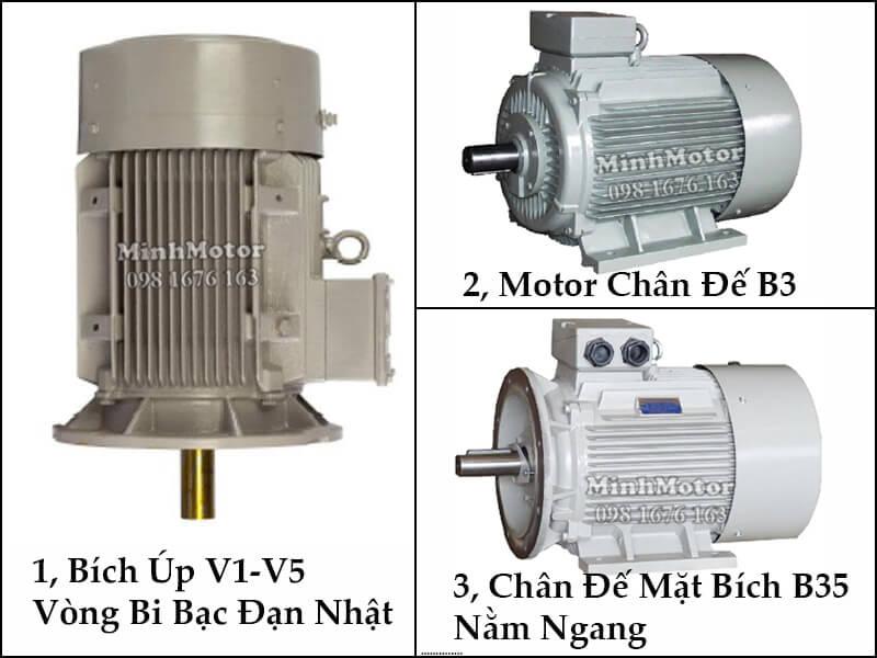 Động Cơ Điện 3 Pha 75Hp 55Kw 4 Cực Điện bích úp V1 - V5 vòng bi bạc đạn Nhật, motor chân đế, chân đế mặt bích B35 nằm ngang